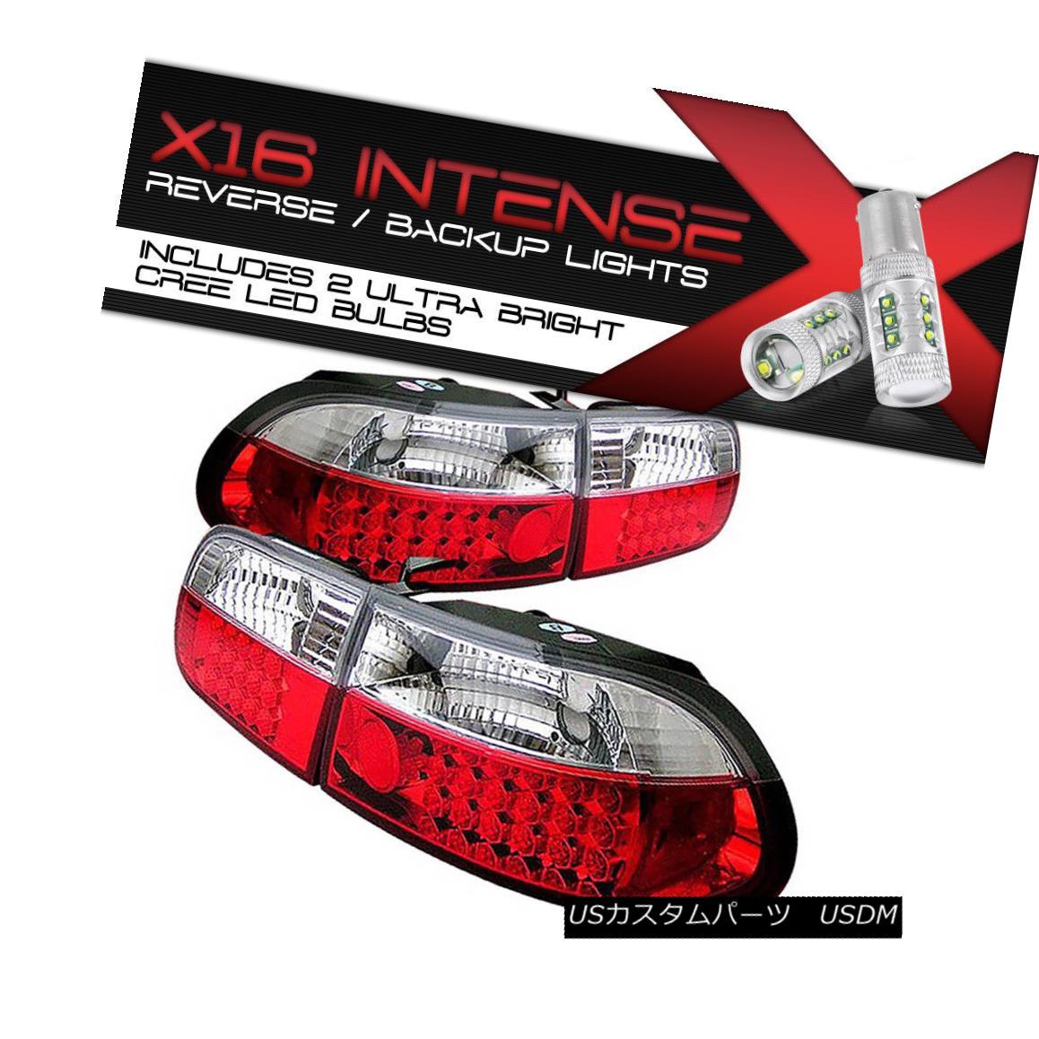 テールライト High-Power CREE Reverse JDM CIVIC 92-95 3DR RED+CLEAR Bright LED 4PCS Tail Light ハイパワークリーリバースJDM CIVIC 92-95 3DR RED +クリア明るいLED 4PCSテールライト