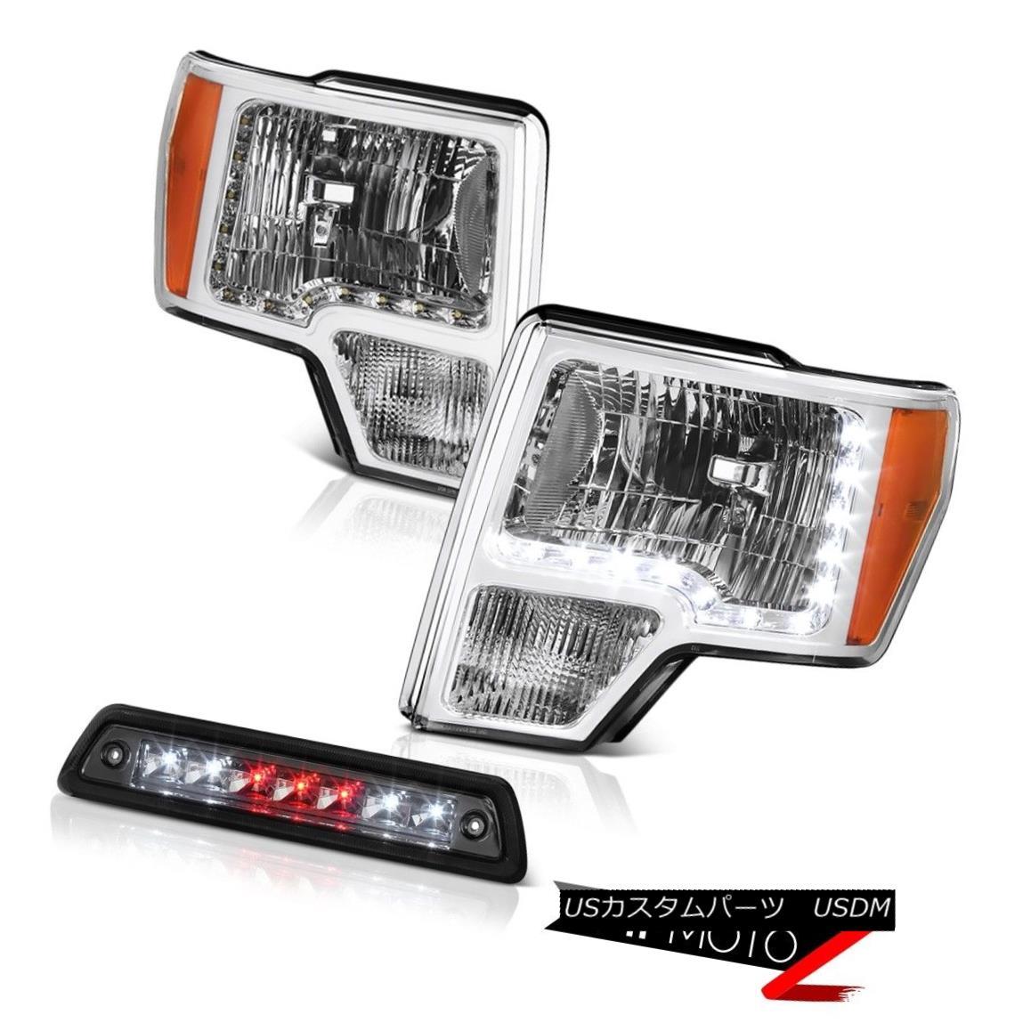 テールライト 09-14 F150 5.4L Dark smoke third brake lamp crystal clear headlamps led drl LED 09-14 F150 5.4L暗い煙の第3ブレーキランプクリスタルクリアヘッドランプledのLED