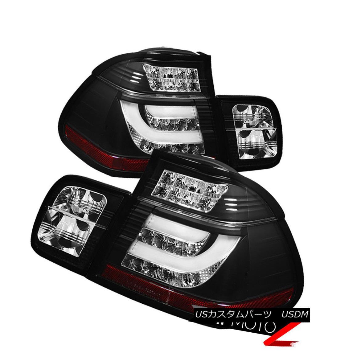 テールライト 02-05 BMW E46 3-Series 4DR Tail Light Black LED STRIP Signal Brake Pair LH RH 02-05 BMW E46 3シリーズ4DRテールライトブラックLED STRIP信号ブレーキペアLH RH