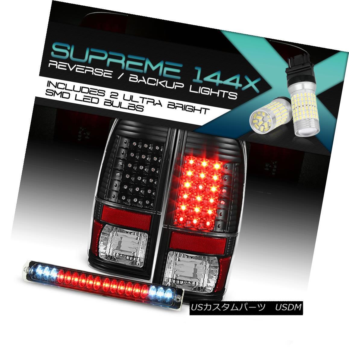 テールライト 360 DEGREE SMD REVERSE Ford F150 Lobo Black LED Taillamps Third Brake Signal L+R 360度SMDリバースフォードF150ロボブラックLEDタイルランプ第3ブレーキ信号L + R