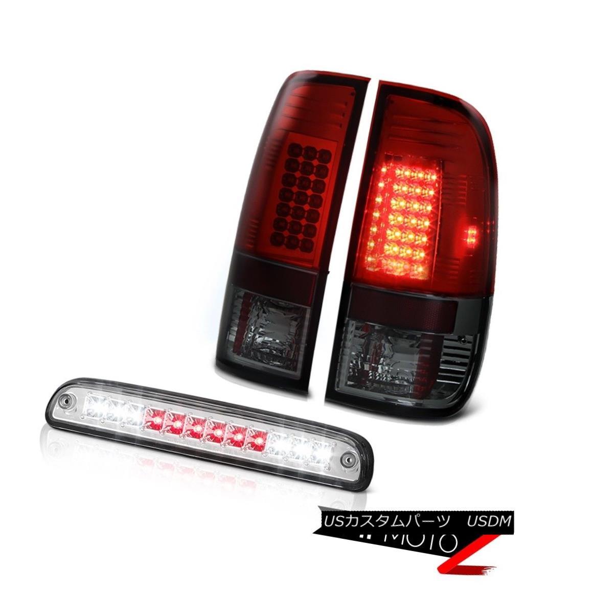 テールライト 99 00 01 02 0304 F250 XL Burgundy+Red Tail Lights LED Roof Third Brake Cargo 99 00 01 02 0304 F250 XLブルゴーニュ+レッドテールライトLED屋根第3ブレーキ貨物
