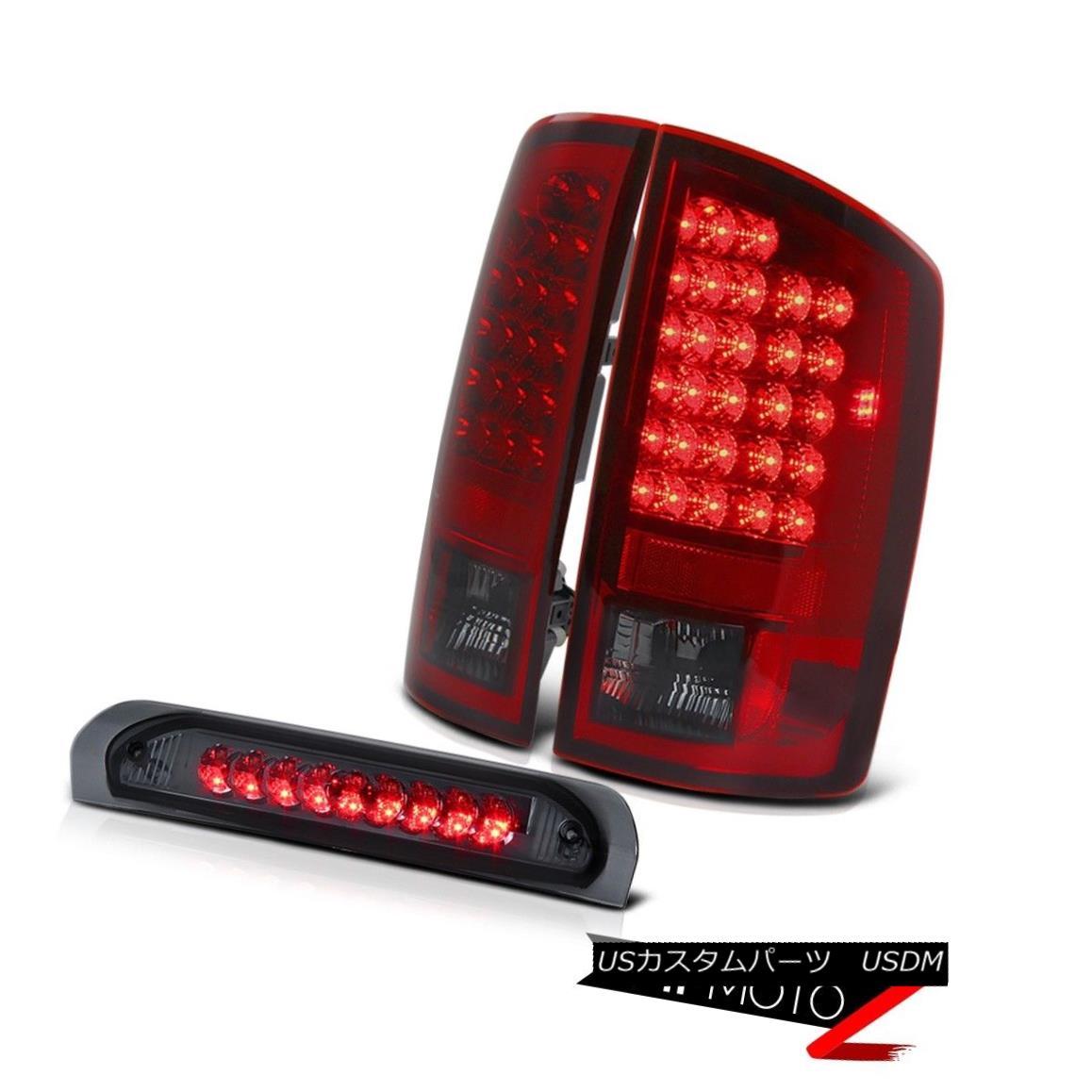テールライト Dodge Ram 02-2005 1500/2500/3500 SMOKEY Cherry Red Tail Light+Led 3rd Brake Lamp ドッジラム02-2005 1500/2500/3500 SMOKEYチェリーレッドテールライト+第3ブレーキランプ