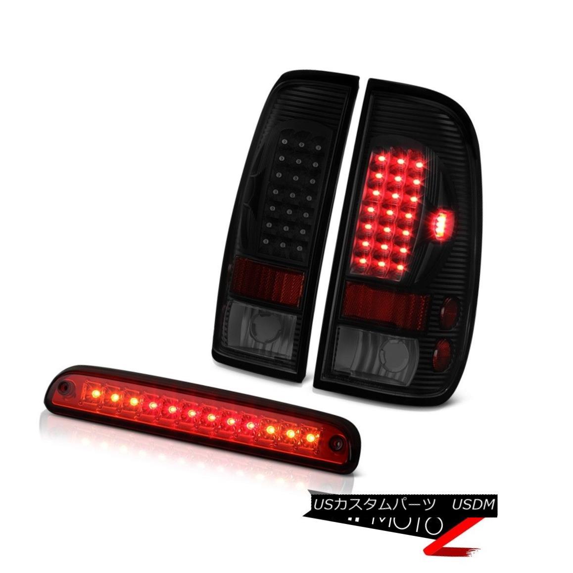 テールライト 99 00 01 02 03 04 F250 5.4L Wine Red 3RD Brake Lamp Dark Tinted Taillights LED 99 00 01 02 03 04 F250 5.4Lワインレッド3RDブレーキランプダークティテッドティアライトLED