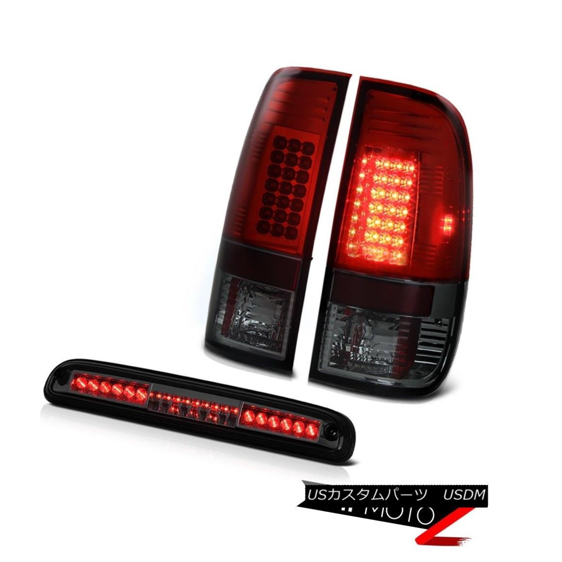 テールライト 1999-2004 F350 XLT Burgundy+Red Tail Light LED Roof Smoke 3rd Brake Light LH+RH 1999-2004 F350 XLTブルゴーニュ+レッドテールライトLEDルーフスモーク第3ブレーキライトLH + RH