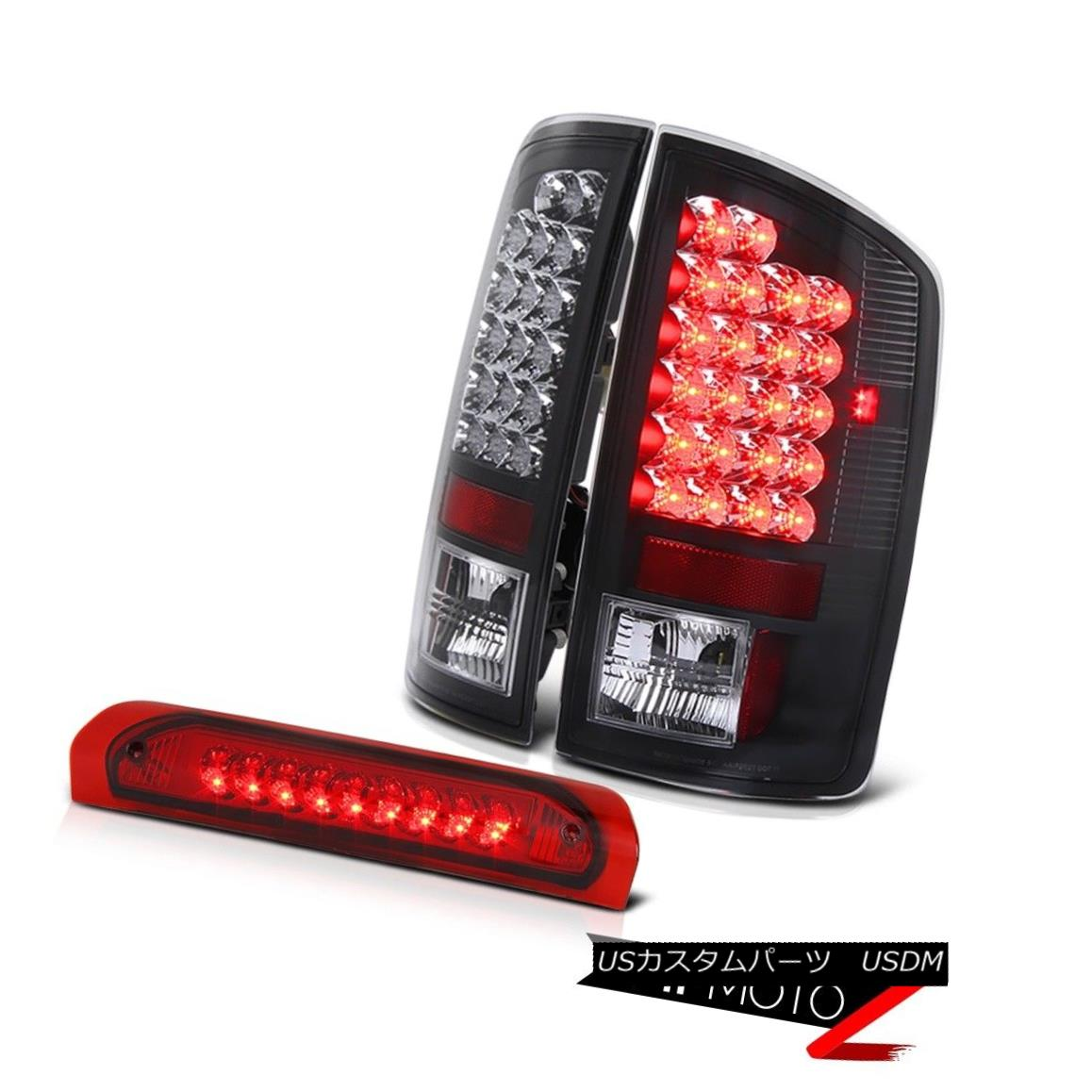 テールライト 02-05 Dodge Ram 1500/2500/3500 Truck Black Led Tail Light+RED LED 3rd Brake Lamp 02-05 Dodge Ram 1500/2500/3500トラックブラックLedテールライト+ RED LED第3ブレーキランプ