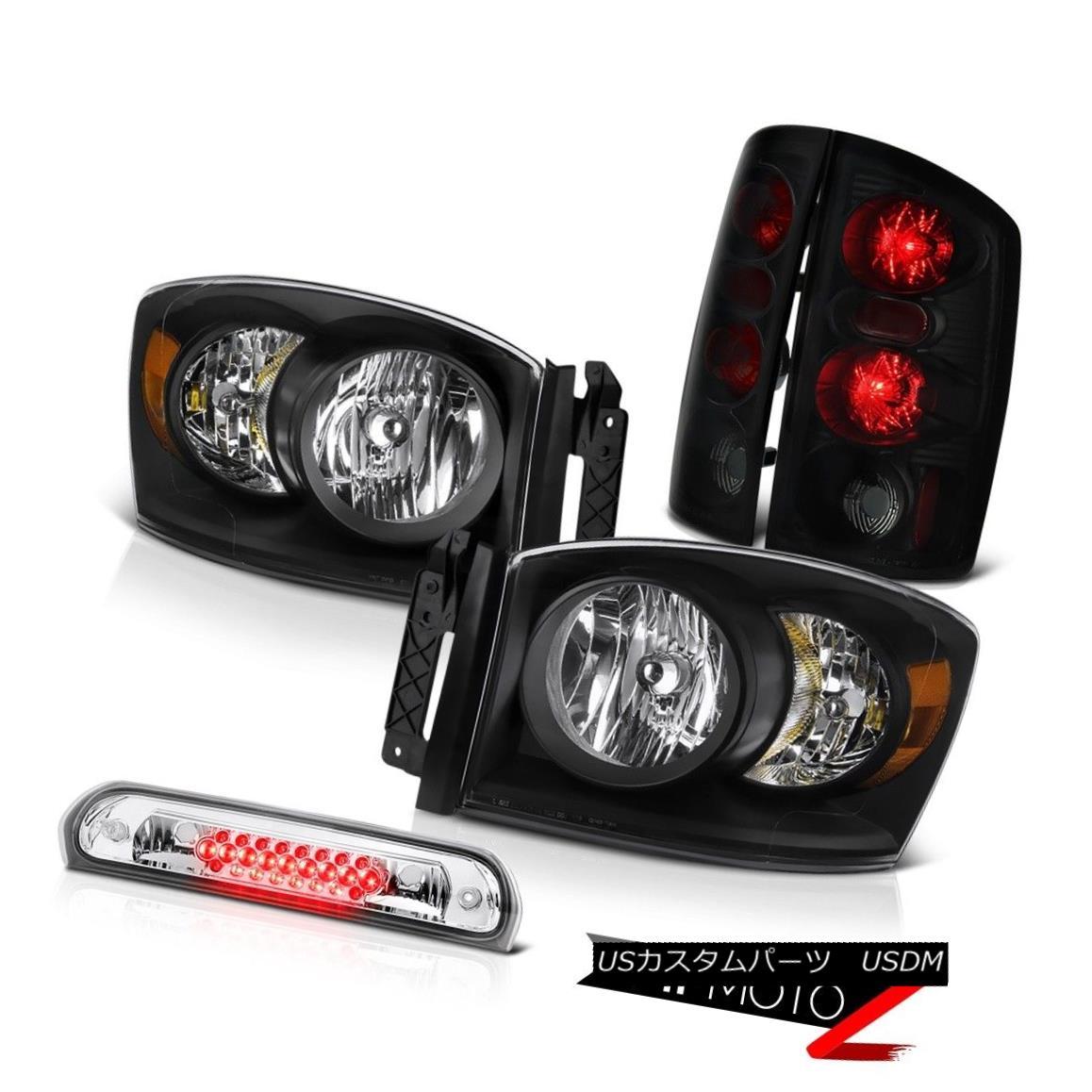 テールライト 2006 Dodge Ram Satin Black Headlamps Smoke+Black Brake Tail Light Chrome 3rd LED 2006ダッジラムサテンブラックヘッドランプスモーク+ブラックブレーキテールライトクローム第3 LED