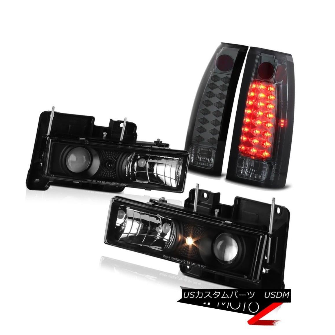 テールライト Black Projector Headlights+LED Smoke Brake Signal Tail Lamps 88-98 Ck 1500 2500 黒プロジェクターヘッドライト+ LEDスモークブレーキ信号テールランプ88-98 Ck 1500 2500