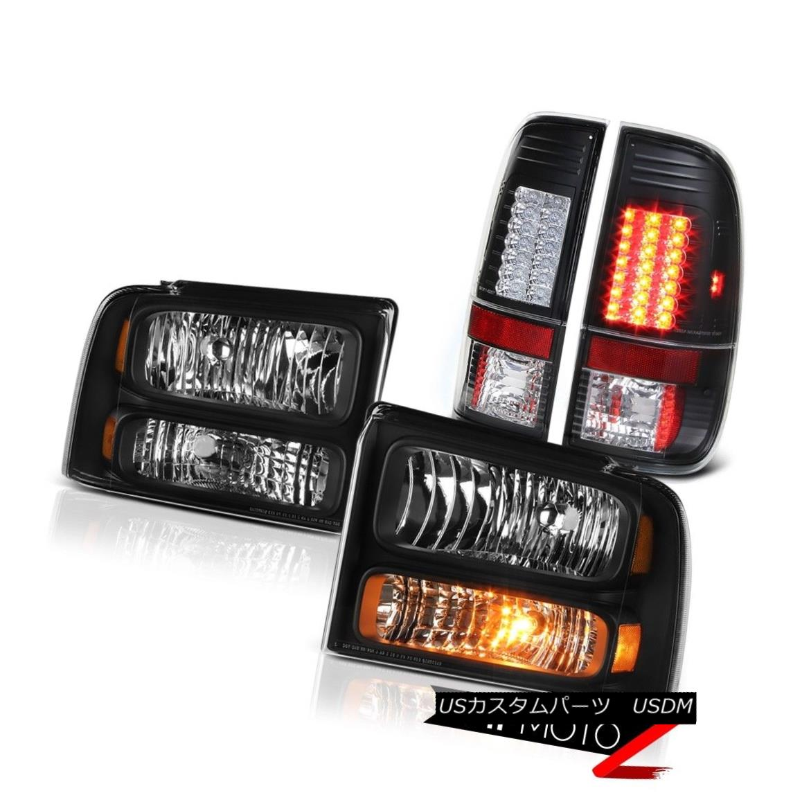 テールライト Pair Black Diamond Headlights LED Tail Lights 2005 2006 2007 Ford F250 SuperDuty ペアブラックダイヤモンドヘッドライトLEDテールライト2005 2006 2007 Ford F250 SuperDuty