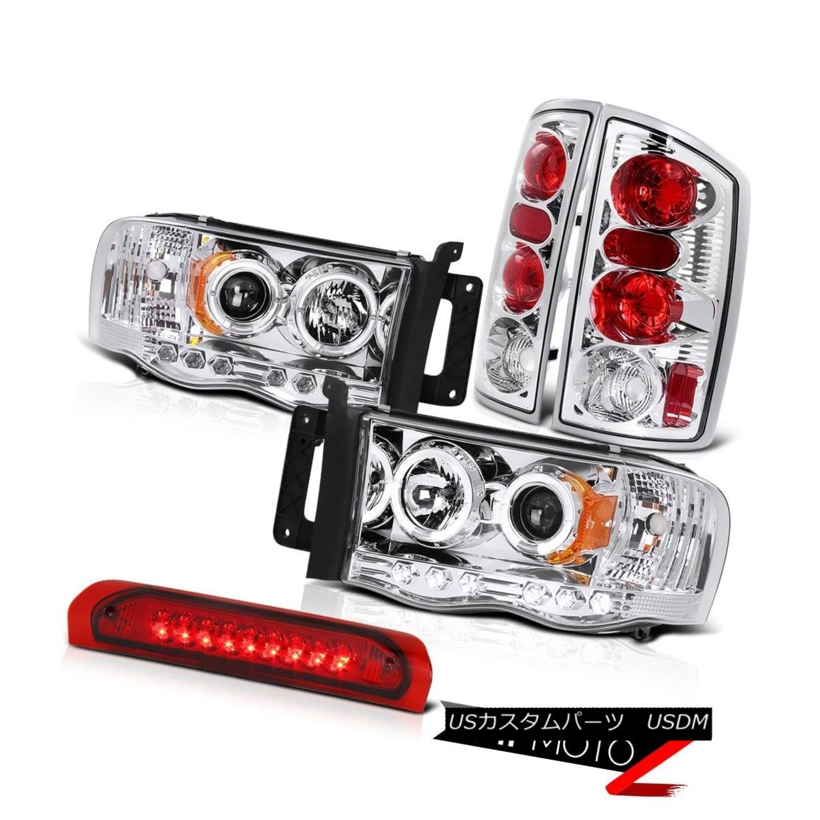 テールライト Halo Projector Headlight+Chrome TailLamp+RED Led 3rd Brake Light 02-05 Dodge RAM Haloプロジェクターヘッドライト+クロ me TailLamp + RED第3ブレーキライト02-05 Dodge RAM
