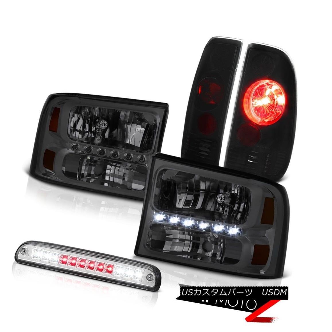 テールライト Pair Smoke Headlamps Euro Third Brake LED Smoke+Black Tail Light 99-04 F350 XLT ペア煙ヘッドランプユーロ第3ブレーキLED煙+黒テールライト99-04 F350 XLT