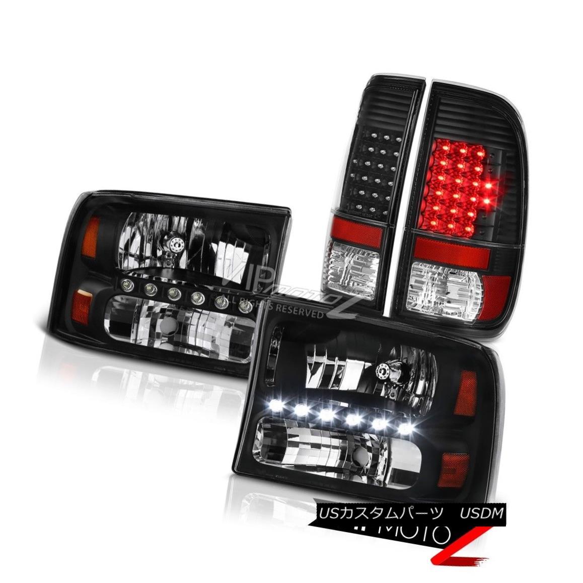 テールライト Pair Black Factory Style Headlamps Signal Tail Lights 99-04 F250 Harley Davidson ペアブラックファクトリースタイルヘッドランプ信号テールライト99-04 F250ハーレーダビッドソン