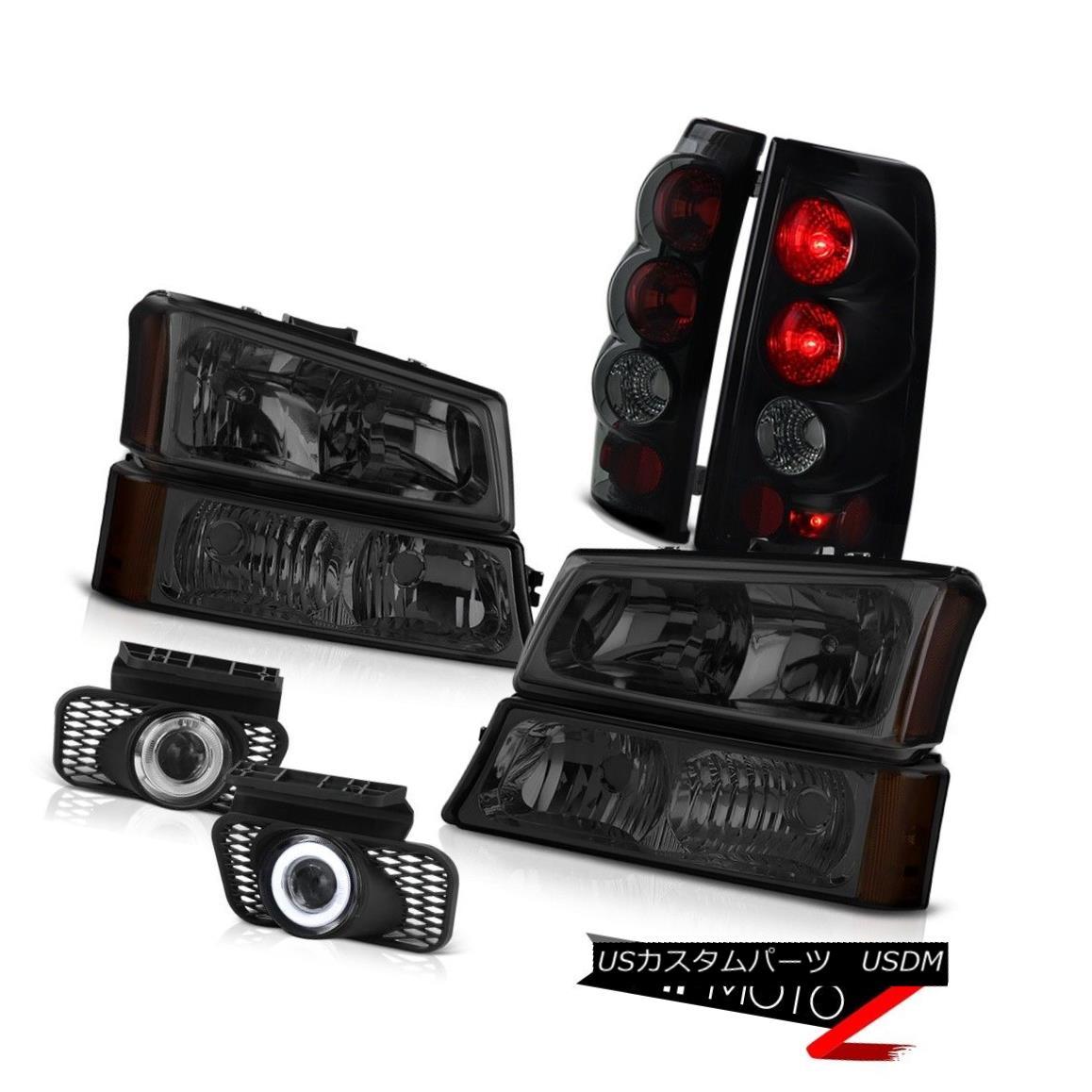 テールライト PAIR Smoke Headlights Smoked LED Signal Reverse Tail Lights DRL 03 04 Silverado PAIRスモークヘッドライトスモークLED信号リバーステールライトDRL 03 04 Silverado