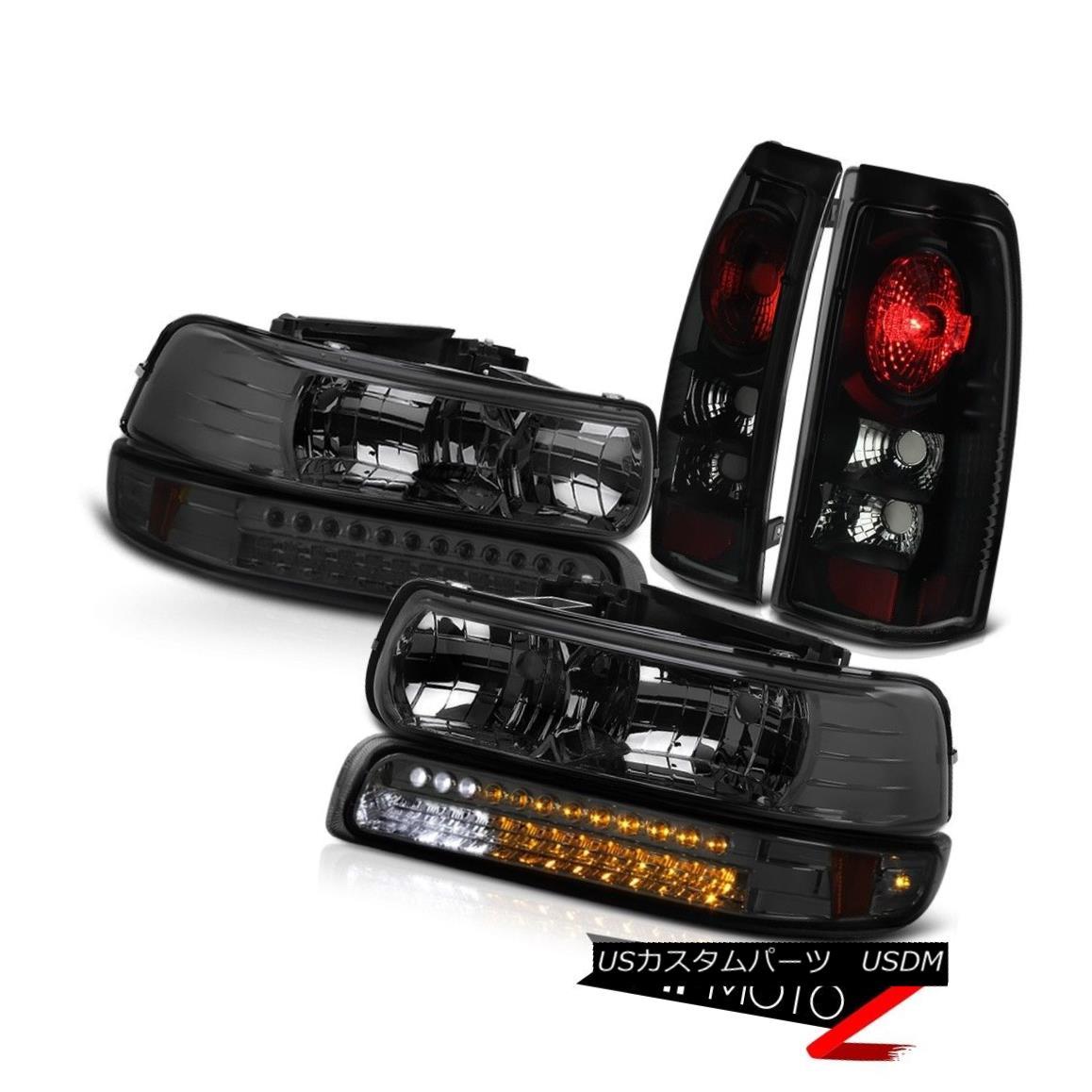 テールライト 99 00 01 02 Silverado 1500 Headlight LED Smoke Bumper Lamps Black Tail Lights 99 00 01 02 Silverado 1500ヘッドライトLEDスモークバンパーランプブラックテールライト