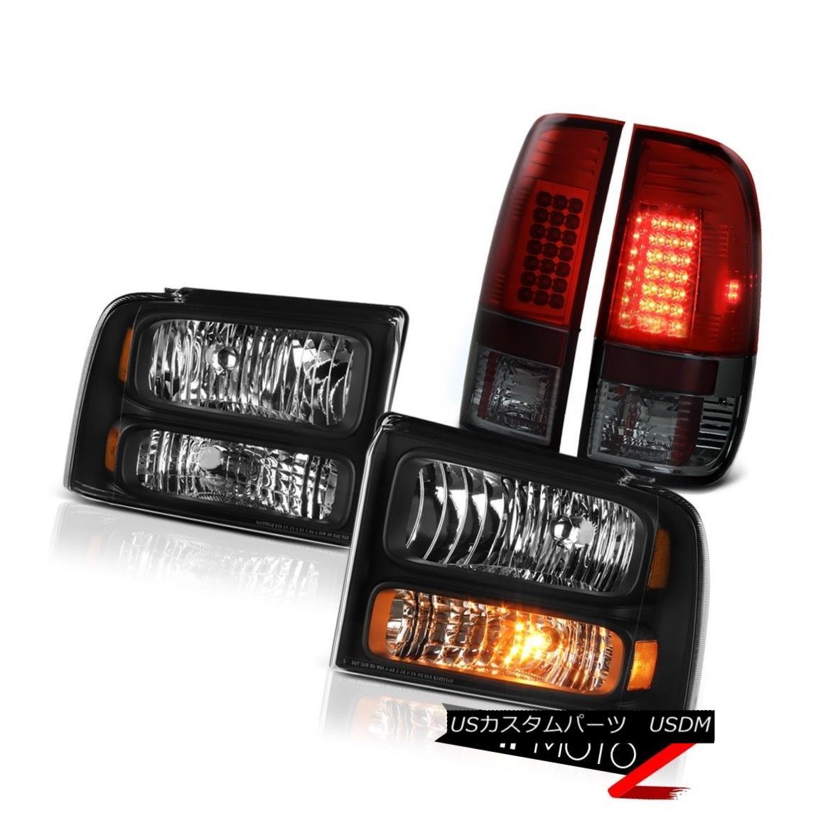 テールライト Black Diamond Headlights Dark Red LED Brake Tail Lights 2005 2006 2007 F250 5.4L ブラックダイヤモンドヘッドライトダークレッドLEDブレーキテールライト2005 2006 2007 F250 5.4L