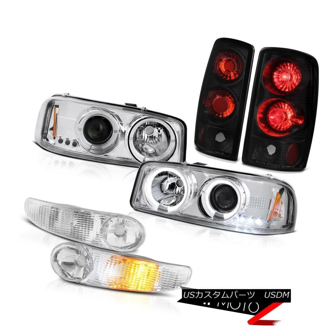 テールライト Headlights Halo DRL LED Euro Parking Rear Black Taillights 2000-2006 Yukon 6.0L ヘッドライトHalo DRL LEDユーロパーキングリアブラックテイルライト2000-2006ユーコン6.0L