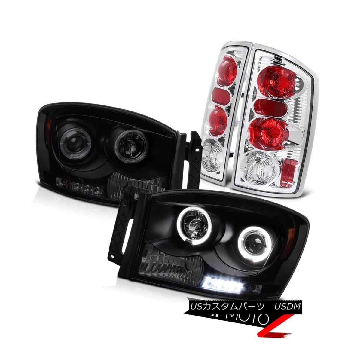 テールライト SINISTER BLACK 2006 Dodge Ram Angel Eye LED Projector Headlight Chrome Taillight SINISTER BLACK 2006ドッジ・ラム・エンジェル・アイLEDプロジェクター・ヘッドライトクローム・ティライト