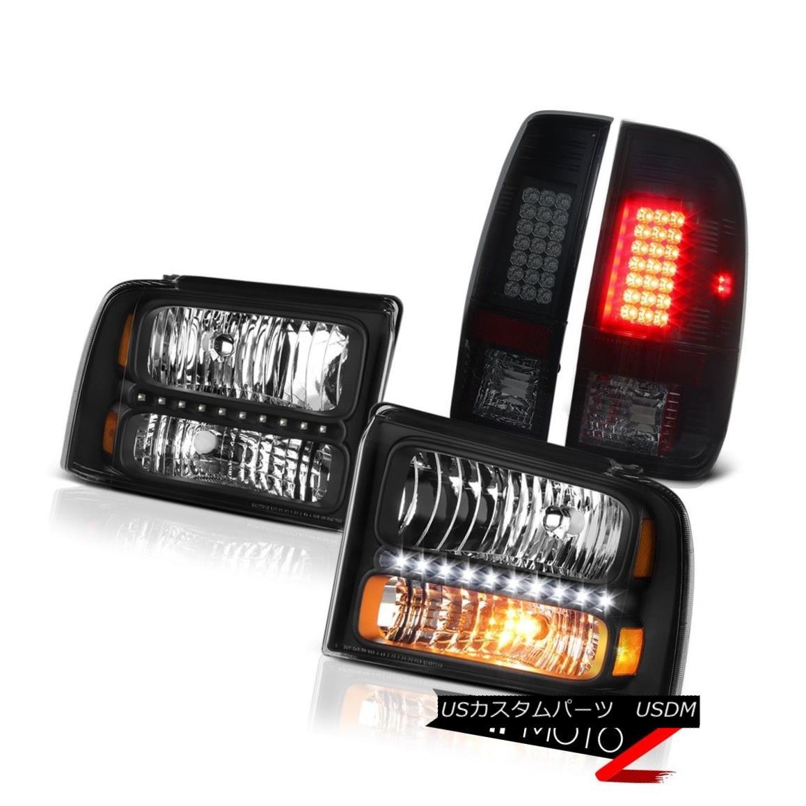 テールライト Satin Black Headlamps Rear Brake Tail Lights LED 2005 2006 2007 Ford SuperDuty サテンブラックヘッドランプリアブレーキテールライトLED 2005 2006 2007 Ford SuperDuty