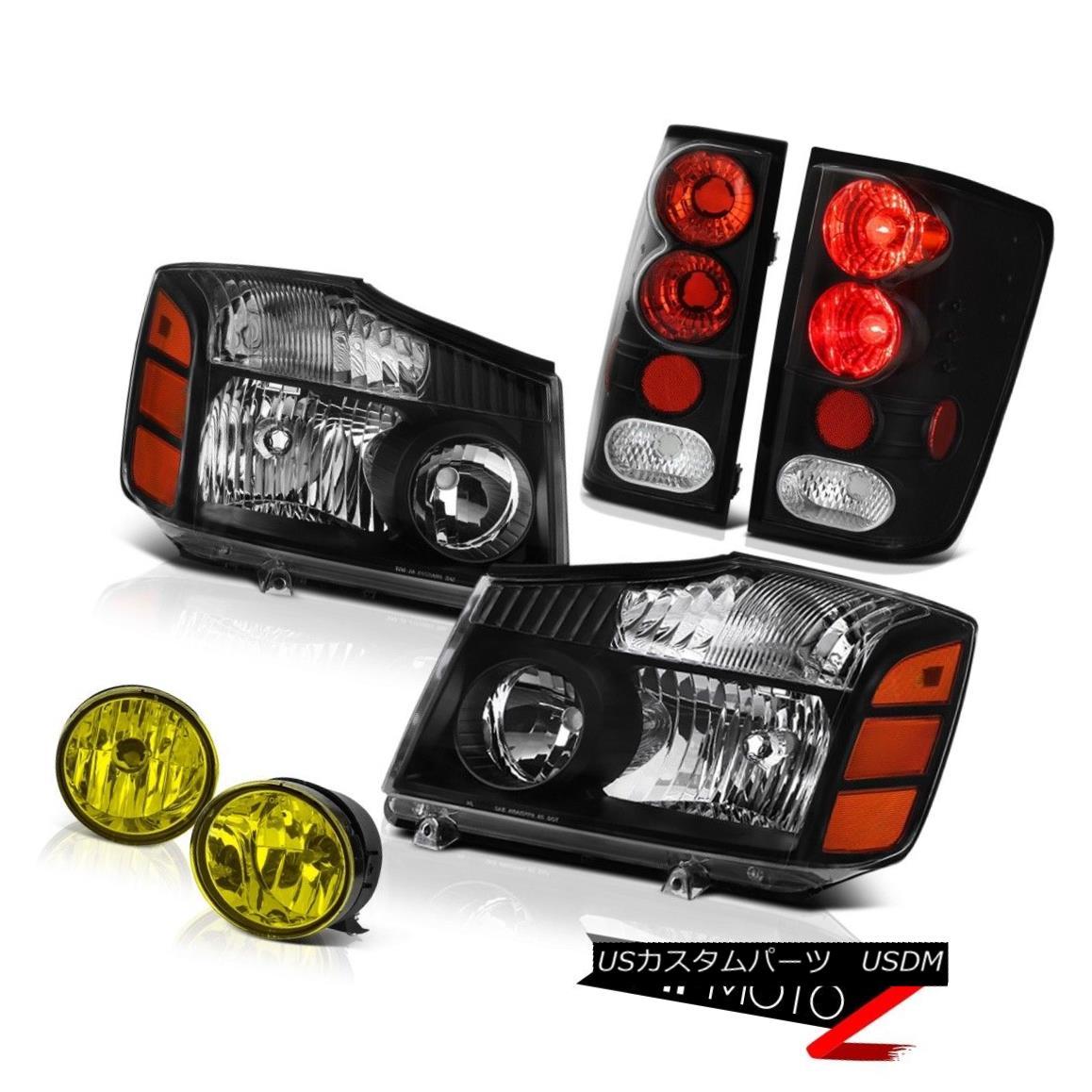 テールライト For 2004-2015 Titan SL Black Diamond Headlight Black Tail Brake Light Yellow Fog 2004年?2015年タイタンSLブラックダイヤモンドヘッドライトブラックテールブレーキライトイエローフォグ