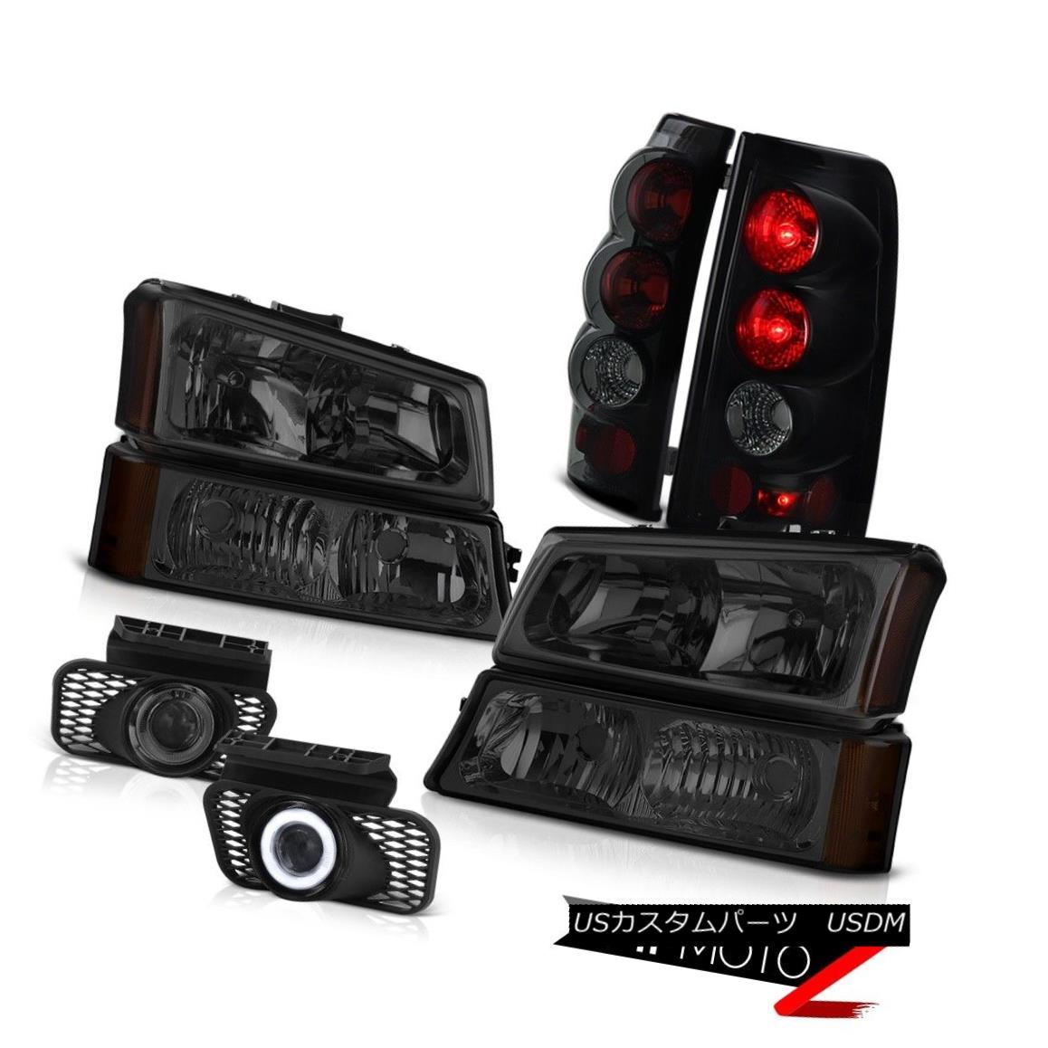 テールライト PAIR Headlights Smoke+Black Brake Tail Light Projector Foglamp Silverado 4.3L V6 PAIRヘッドライトスモーク+ブラックブレーキテールライトプロジェクターFoglamp Silverado 4.3L V6