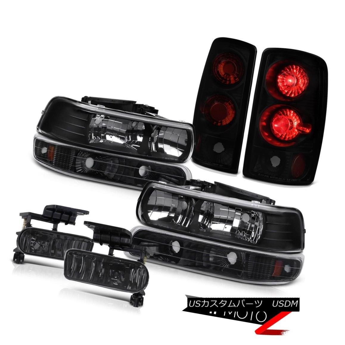 テールライト Pair Black Headlight Parking Rear Brake Tail Lights Foglamps 00-06 Suburban 5.3L ペアブラックヘッドライトパーキングリアブレーキテールライトフォグランプ00-06郊外5.3L