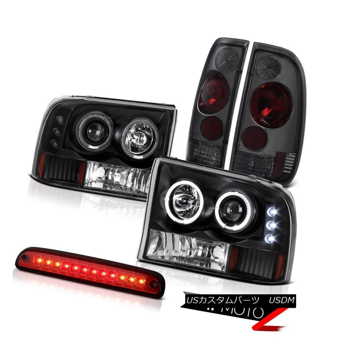 テールライト Black Headlights SMD Halo High Stop LED Red Tinted Tail Lamps 99-04 F250 6.8L ブラックヘッドライトSMD HaloハイストップLEDレッドティンテッドテールランプ99-04 F250 6.8L