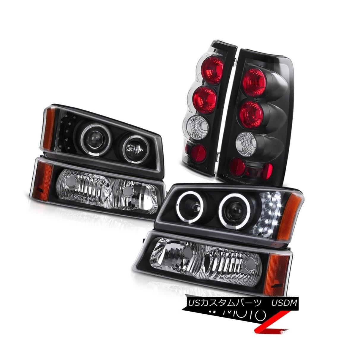 テールライト Black Headlight Projector Signal Parking Lights Clear Tail Lamps 05 06 Silverado ブラックヘッドライトプロジェクター信号駐車場ライトクリアテールランプ05 06シルバラード