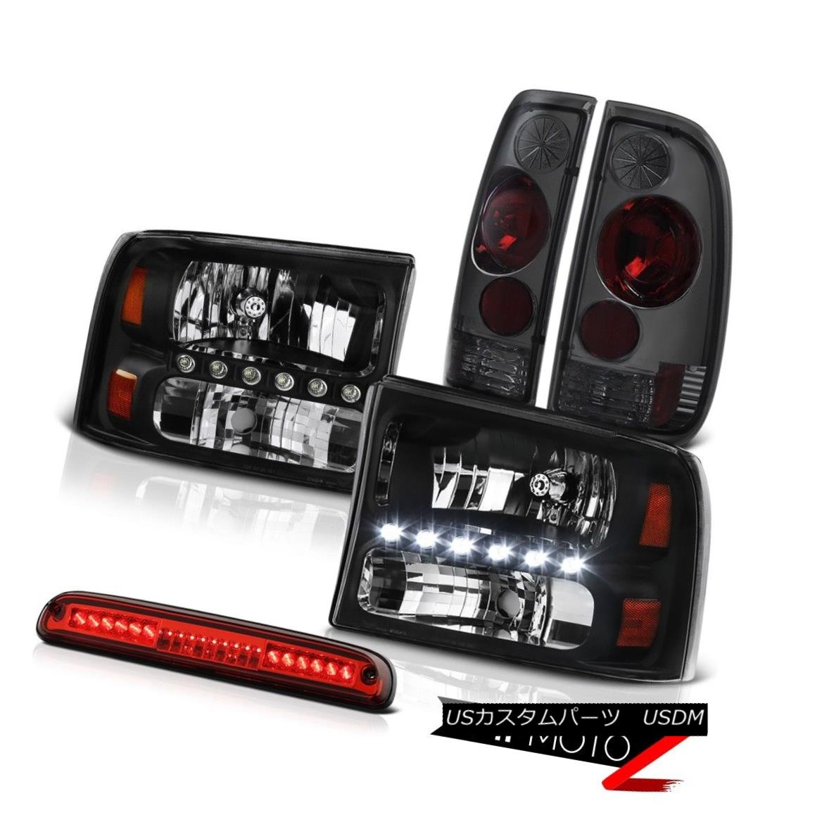 テールライト 99-04 Ford F350 SD L+R Black Headlights Rear Tail Light Wine Red Third Brake LED 99-04 Ford F350 SD L + Rブラックヘッドライトリアテールライトワインレッド第3ブレーキLED