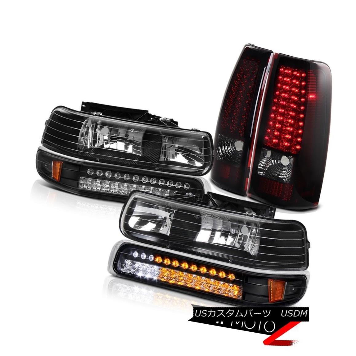 テールライト 99-02 Chevrolet Silverado Truck CHERRY Smoke Red Taillamps Projector Headlights 99-02シボレーシルバラードトラックCHERRYスモークレッドタイルランププロジェクターヘッドライト