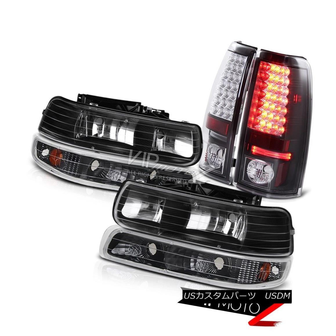 テールライト 99-02 Silverado Standard Extended Crew Black Bumper Headlight LED Rear Tail Lamp 99-02 Silverado標準拡張クルーブラックバンパーヘッドライトLEDリアテールランプ