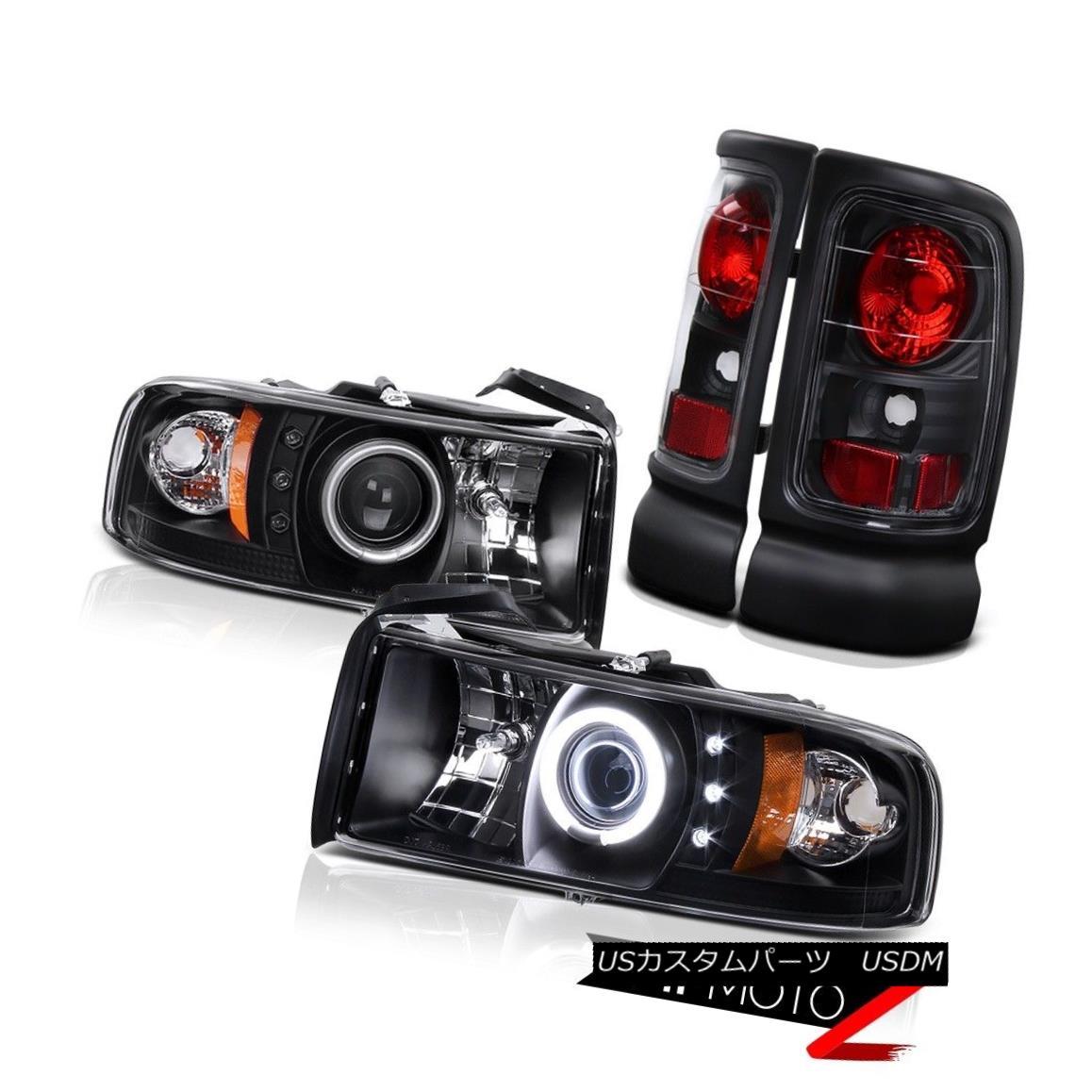 テールライト CCFL Angel Eye Projector Black Headlight+Tail Light Brake Lamp DODGE RAM 94-01 CCFLエンジェルアイプロジェクターブラックヘッドライト+テールライトブレーキランプDODGE RAM 94-01
