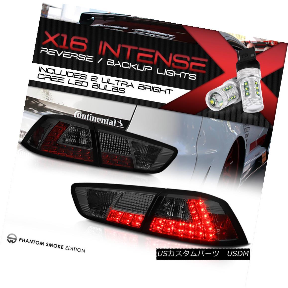 テールライト [CREE LED BACKUP] 08-17 Lancer Evolution EVO X GSR MR 4B11 Smoke LED Tail Lights [CREE LED BACKUP] 08-17ランサーエボリューションEVO X GSR MR 4B11スモークLEDテールライト