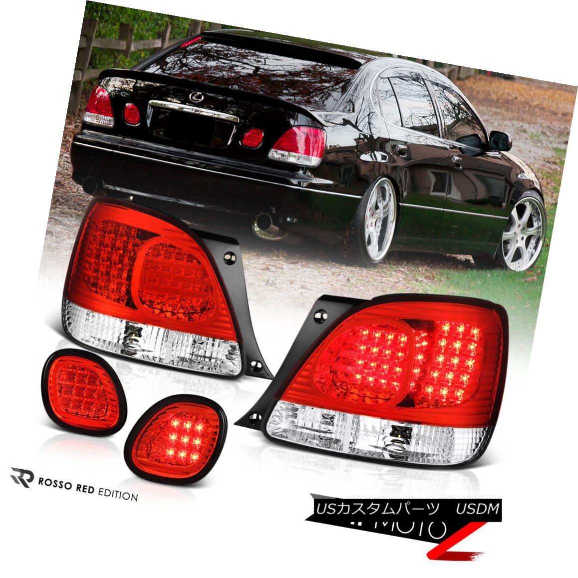 テールライト 98-05 GS300 2JZ JDM Aristo VIP Turbo RED/CLEAR LED Brake Signal Lamp Tail Light 98-05 GS300 2JZ JDM Aristo VIPターボRED / CLEAR LEDブレーキ信号ランプテールライト