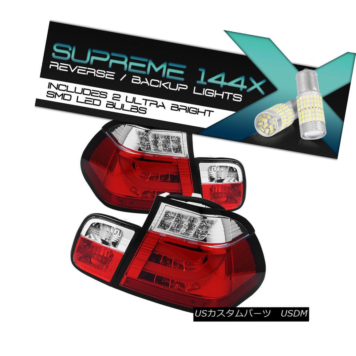 テールライト FULL SMD BACKUP 02-05 BMW E46 3-Series 4Dr Sedan LED STRIP Red Tail Lamp LH RH FULL SMD BACKUP 02-05 BMW E46 3シリーズ4DrセダンLED STRIPレッドテールランプLH RH