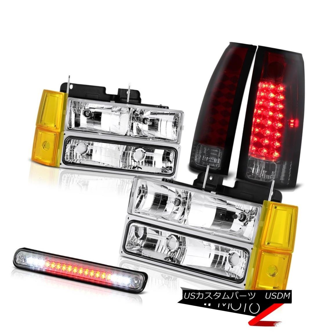 テールライト 1994-1998 GMC Sierra Chrome Headlights Bumper 3RD Brake Lamp Parking Lights SMD 1994-1998 GMC Sierra Chromeヘッドライトバンパー3RDブレーキランプパーキングライトSMD