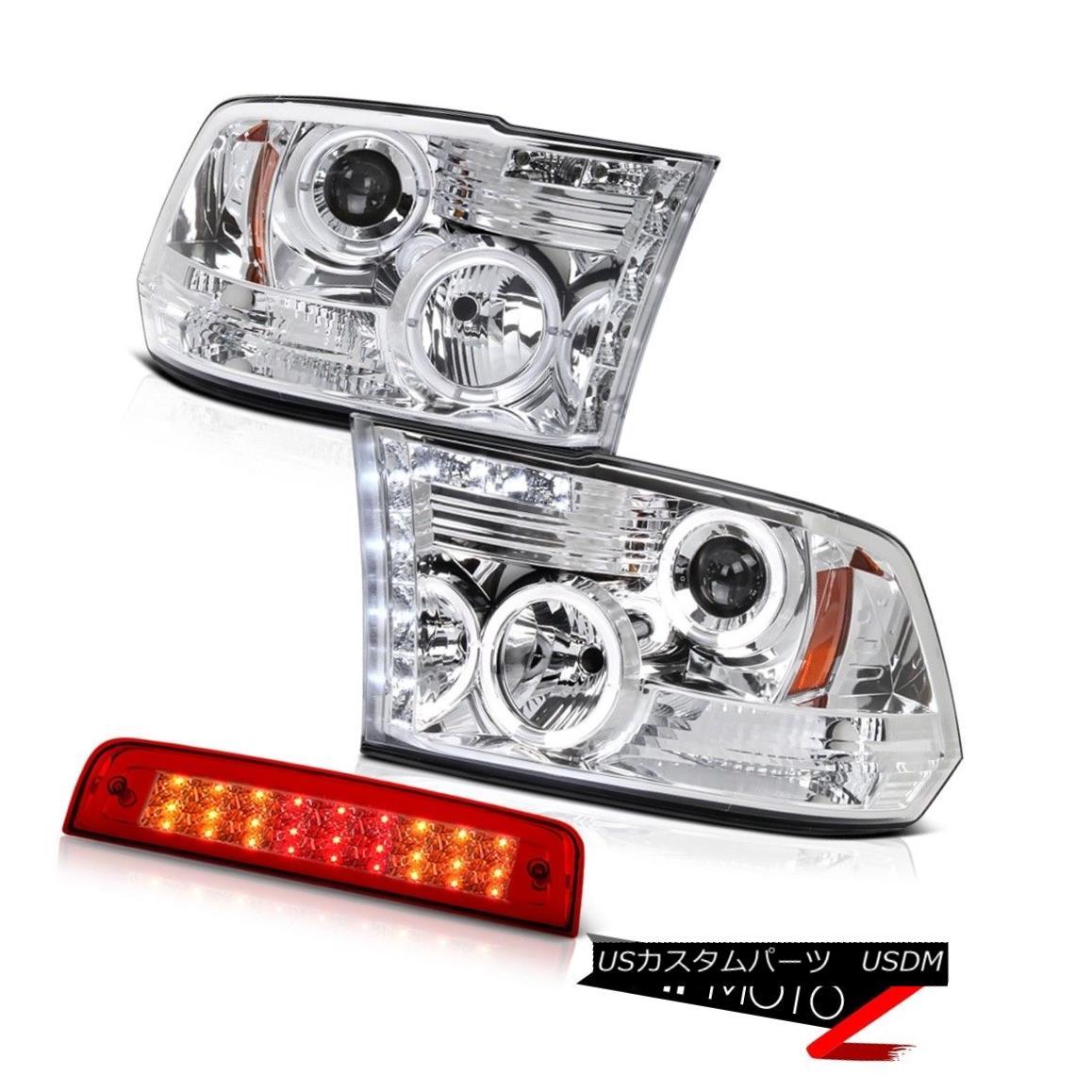 テールライト 09-18 Ram 1500 SLT Wine Red High Stop Light CrySTal Clear Headlights Dual Halo 09-18ラム1500 SLTワインレッドハイストップライトCrySTalクリアヘッドライトデュアルヘイロー