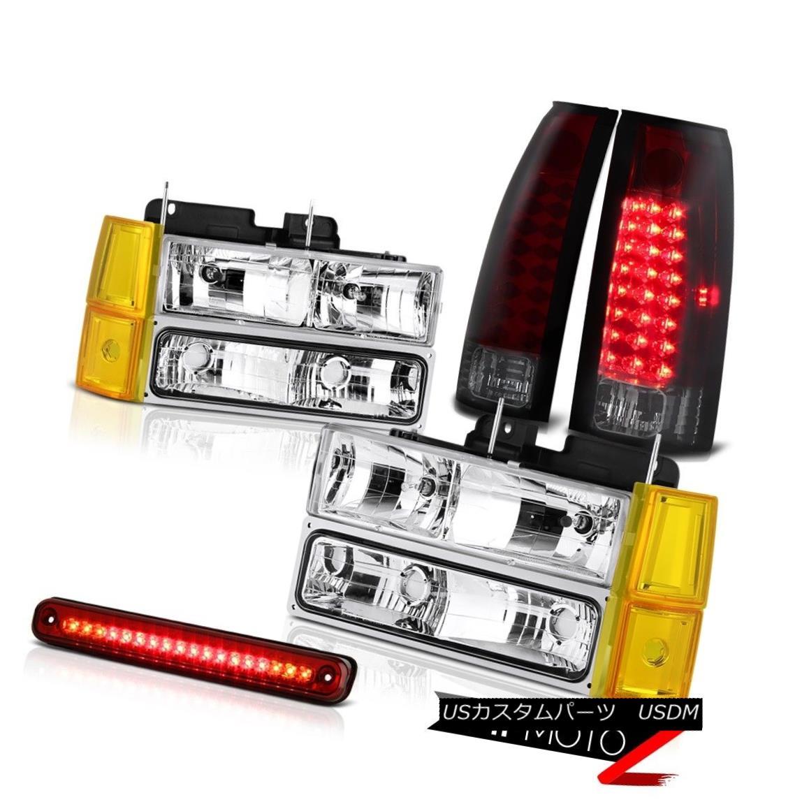 テールライト 1994-1998 GMC C2500 Headlamps Bumper Red 3RD Brake Light Tail Lights Assembly 1994-1998 GMC C2500ヘッドランプバンパーレッド3RDブレーキライトテールライトアセンブリ