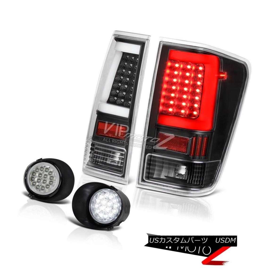 テールライト 04-14 For Nissan Titan Crystal Clear Led Driving Inky Black Neon Tube Rear L+R 04-14日産タイタンクリスタルクリアーLedドライビングインキブラックネオンチューブリアL + R