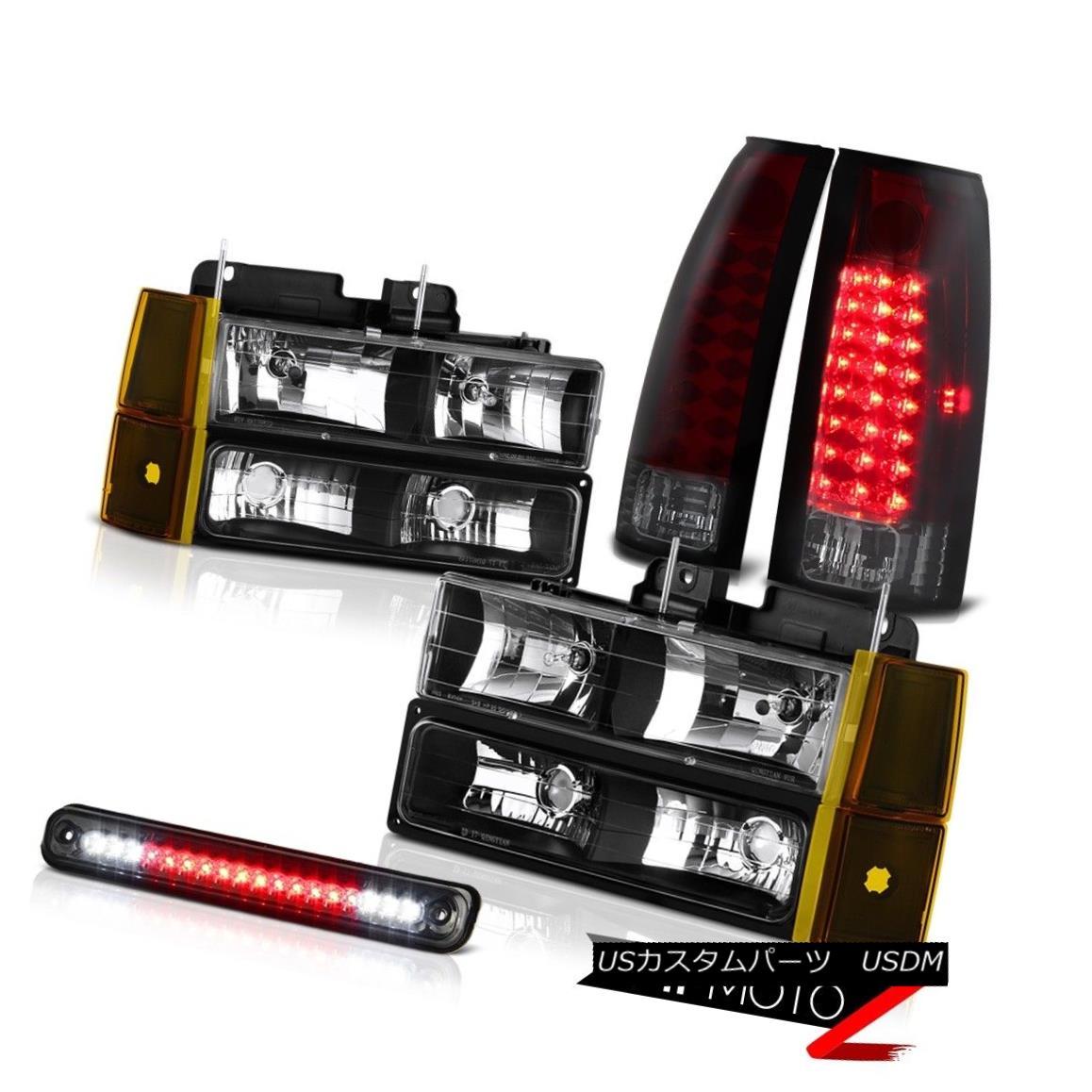 テールライト 1994-1998 GMC C1500 Black Headlamps Bumper Roof Brake Light Taillamps Assembly 1994-1998 GMC C1500ブラックヘッドランプバンパールーフブレーキライトライトアセンブリ