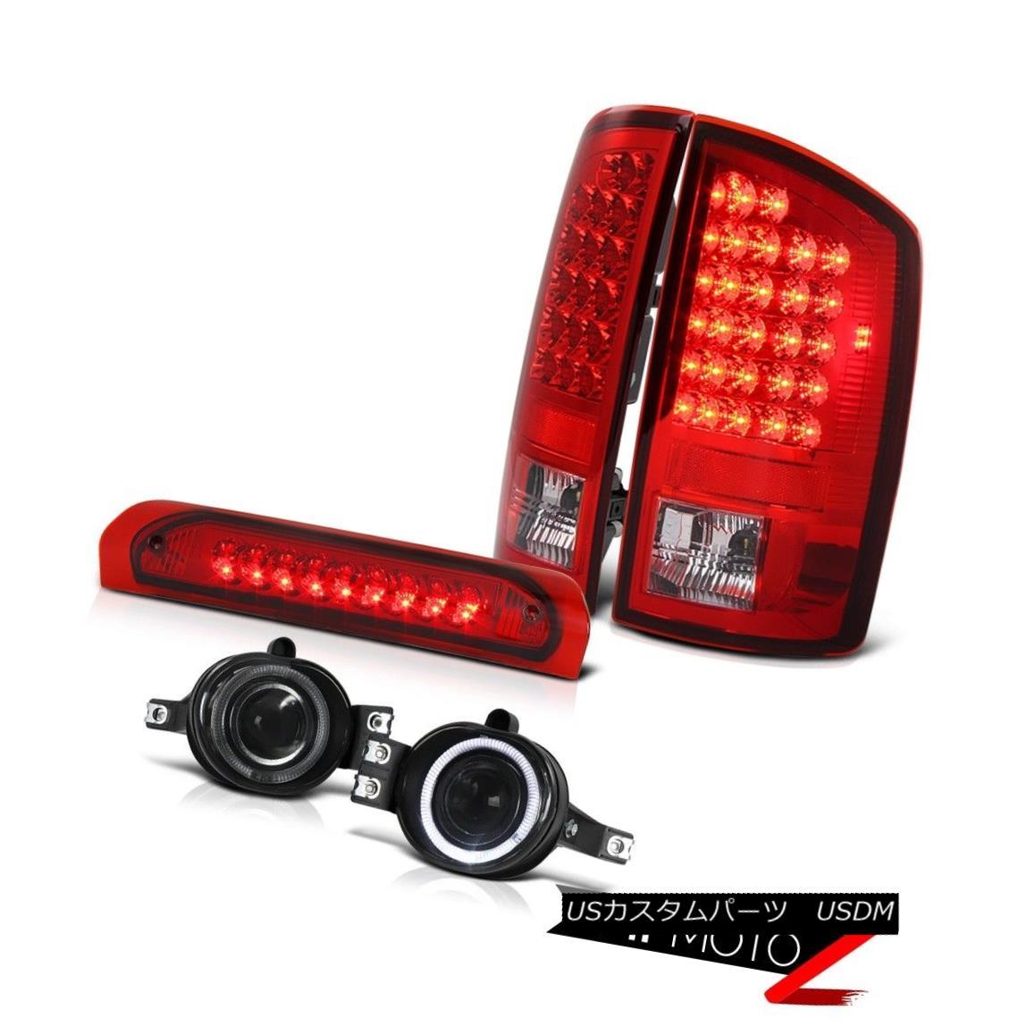 テールライト RED/CLEAR LED Tail Light+3rd Brake+Halo Projector Fog Lamp Dodge 02-06 RAM 1500 赤/クリアLEDテールライト+第3ブレーキ+ハロープロジェクターフォグランプドッジ02-06 RAM 1500