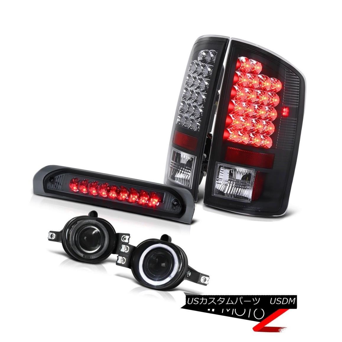 テールライト 02-06 Dodge RAM L+R Black LED Taillamp+3rd Brake+Halo Projector Fog Lamp COMBO 02-06ドッジRAM L + RブラックLEDタイルランプ+ 3番ブレーキ+ハロープロジェクターフォグランプCOMBO