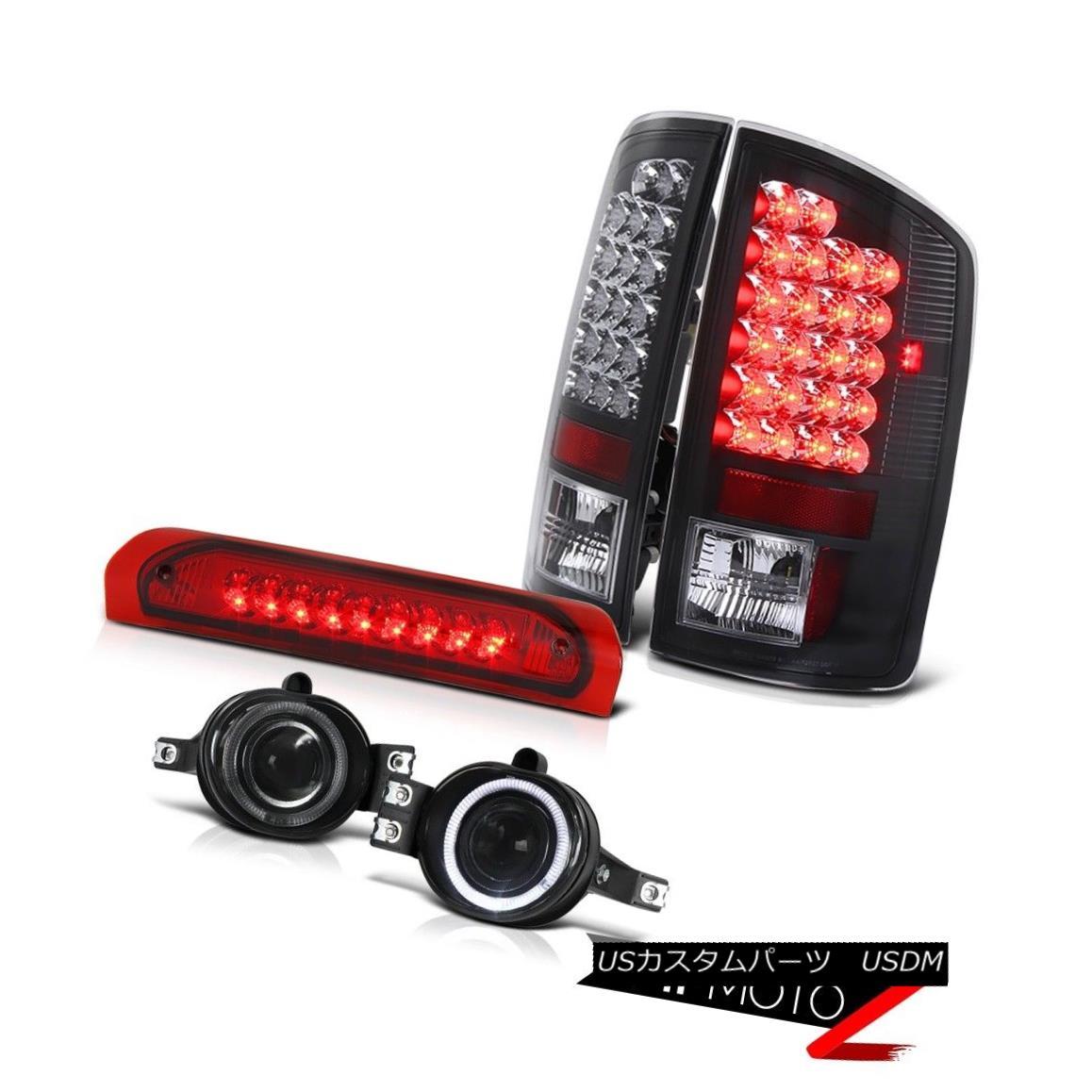 テールライト Black LED Taillamp+3rd Brake+Smoke Halo Projector Fog Lamp Dodge RAM 02-06 1500 ブラックLEDタイルランプ+ 3番ブレーキ+スモークハロープロジェクターフォグランプダッジRAM 02-06 1500