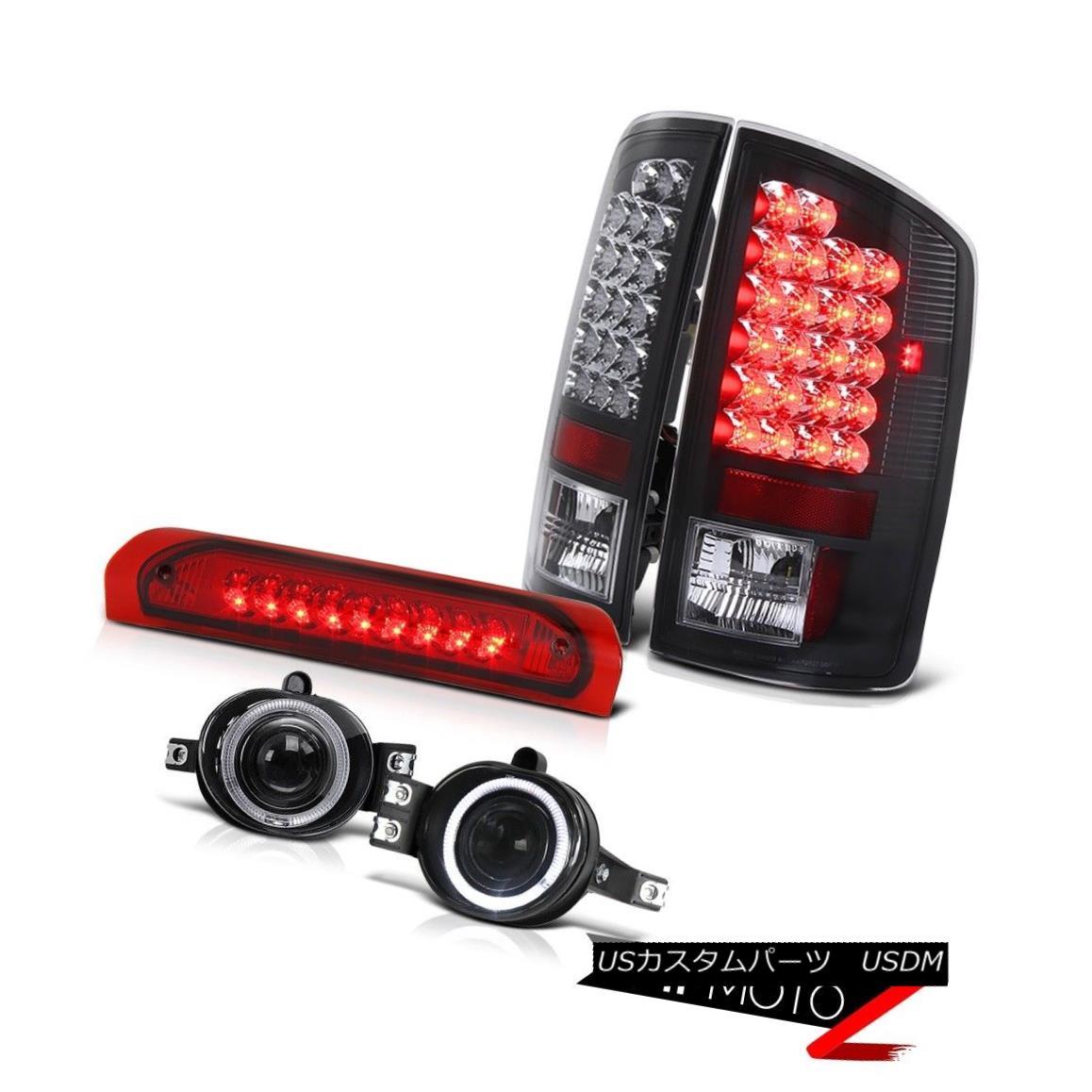 テールライト Dodge 02-06 RAM Black LED Taillamp+3rd Brake+Smoke Halo Projector Fog Lamp COMBO ドッジ02-06 RAMブラックLEDタイルランプ+ 3番ブレーキ+スモークハロープロジェクターフォグランプCOMBO