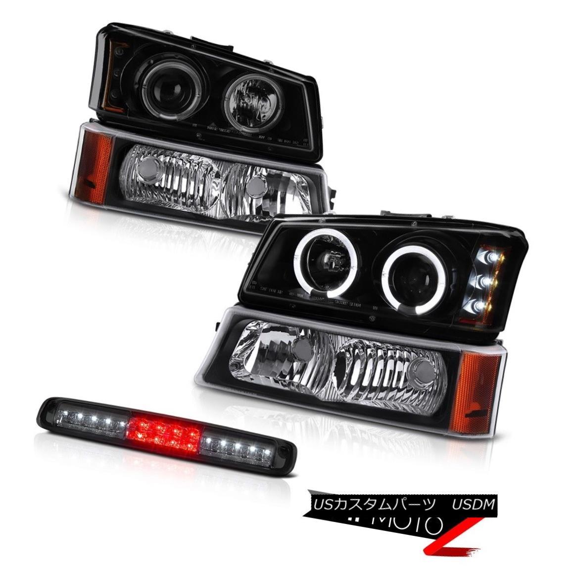 テールライト 2003-2006 Silverado Roof Cargo Lamp Parking Darkest Smoke Headlights Halo Ring 2003-2006シルバラド屋根カーゴランプパーキングダークスモークヘッドライトハローリング