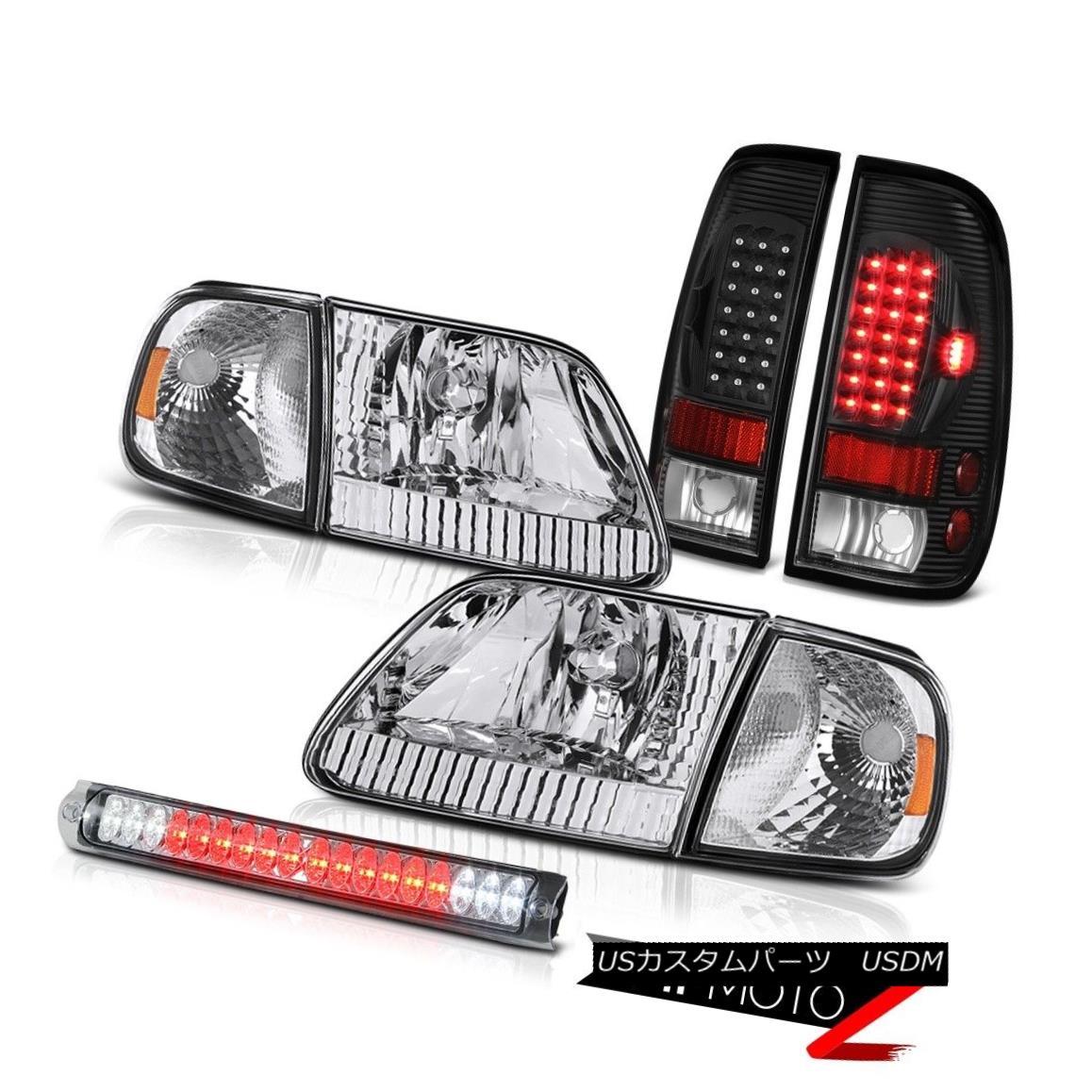 テールライト Pair Headlights Turn Signal Black LED Tail Lamp Third Brake Cargo 97-03 F150 XLT ペアヘッドライトターンシグナルブラックLEDテールランプ第3ブレーキ貨物97-03 F150 XLT