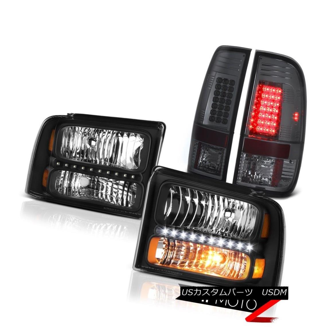 テールライト Left Right Black Headlights Smoke LED Tail Light 2005 2006 2007 Ford F350 Lariat 左右黒ヘッドライトスモークLEDテールライト2005 2006 2007 Ford F350 Lariat