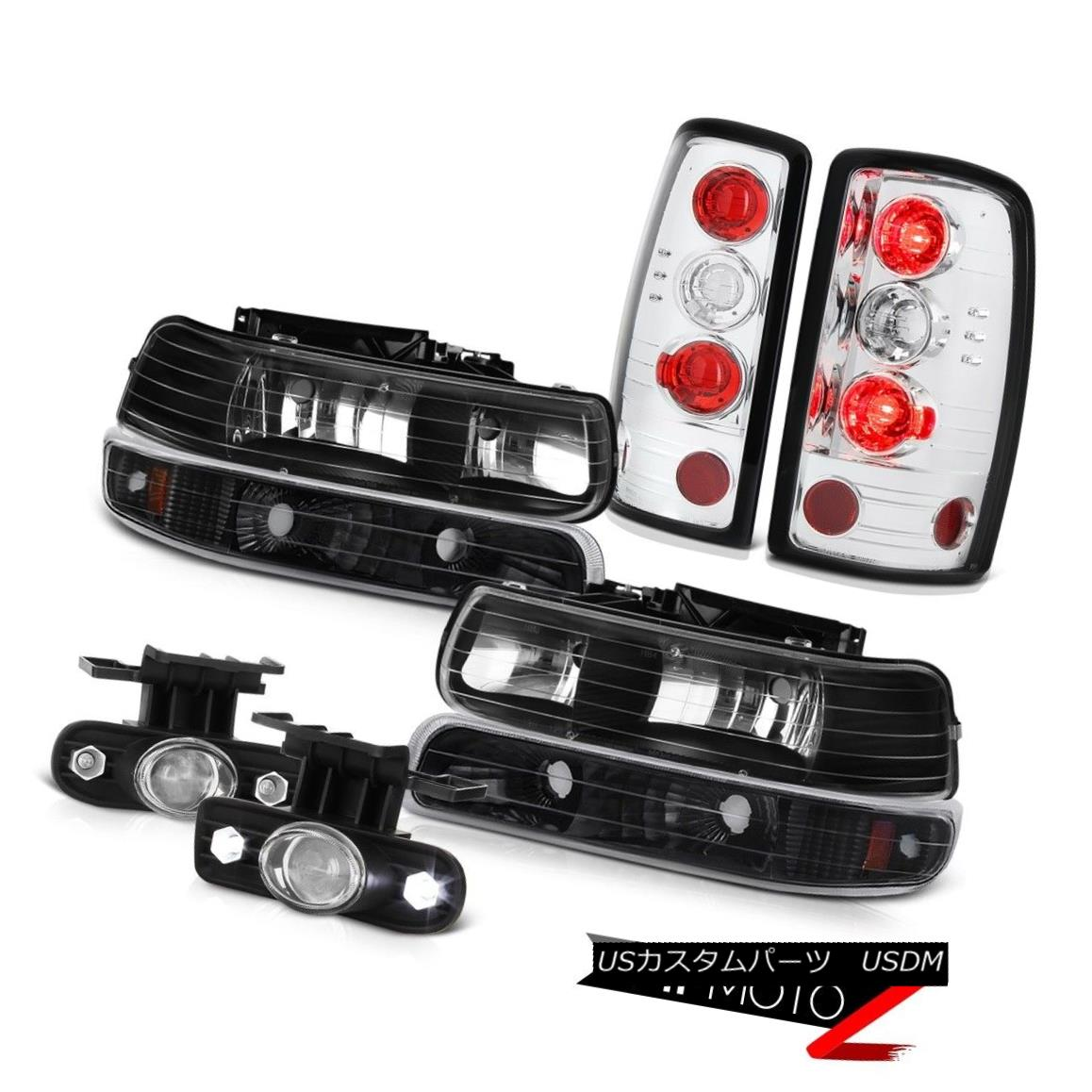テールライト 00-06 Suburban 1500 Barn Door Tail Brake Lights Matte Black Headlights Fog Euro 00-06郊外1500納屋ドアテールブレーキライトマットブラックヘッドライトフォグユーロ