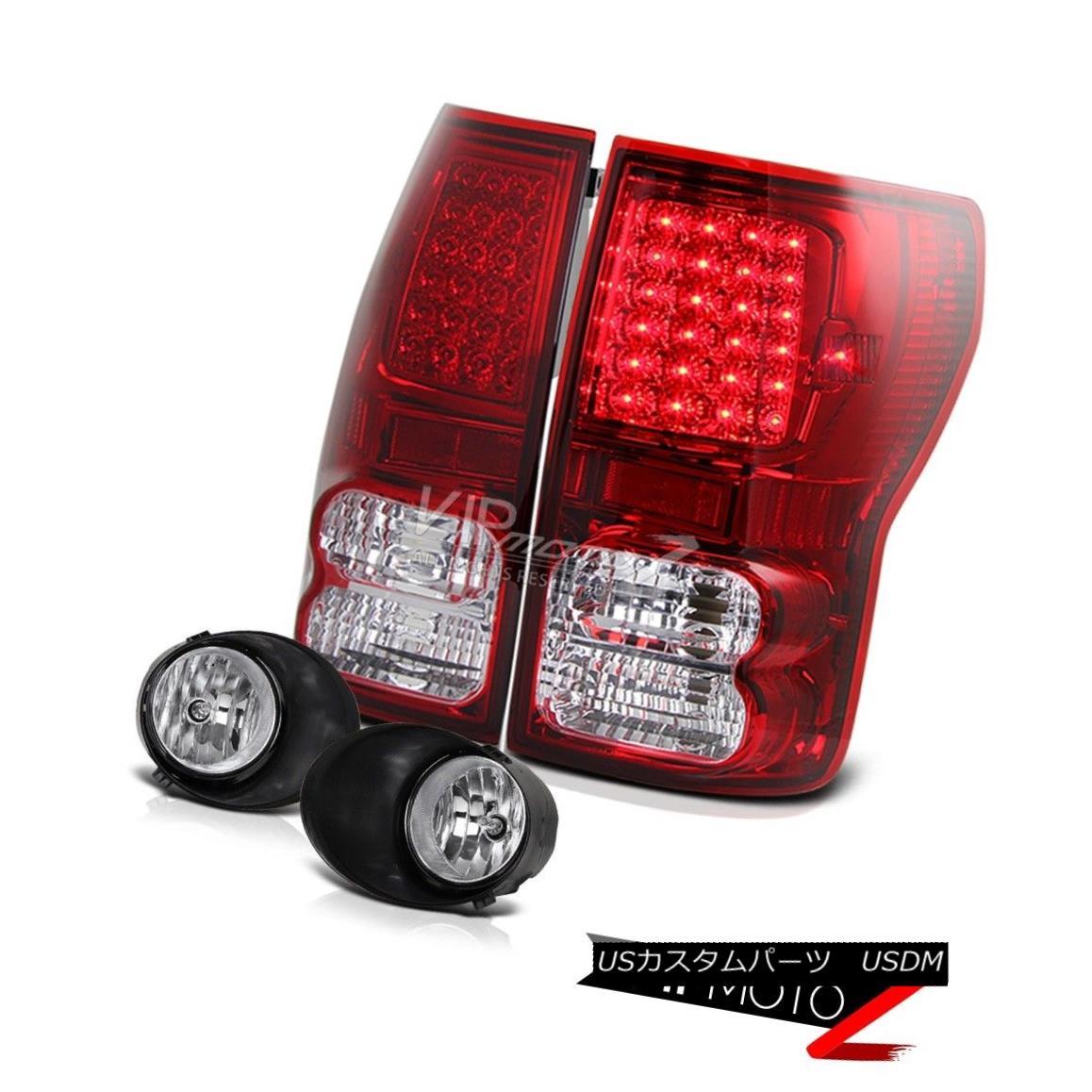 テールライト 07-13 Tundra Truck OE Style RED Led Tail Light Clear Reverse Lamp+Fog Light 07-13トンドラトラックOEスタイルレッドテールライトクリアリバースランプ+フォグライト