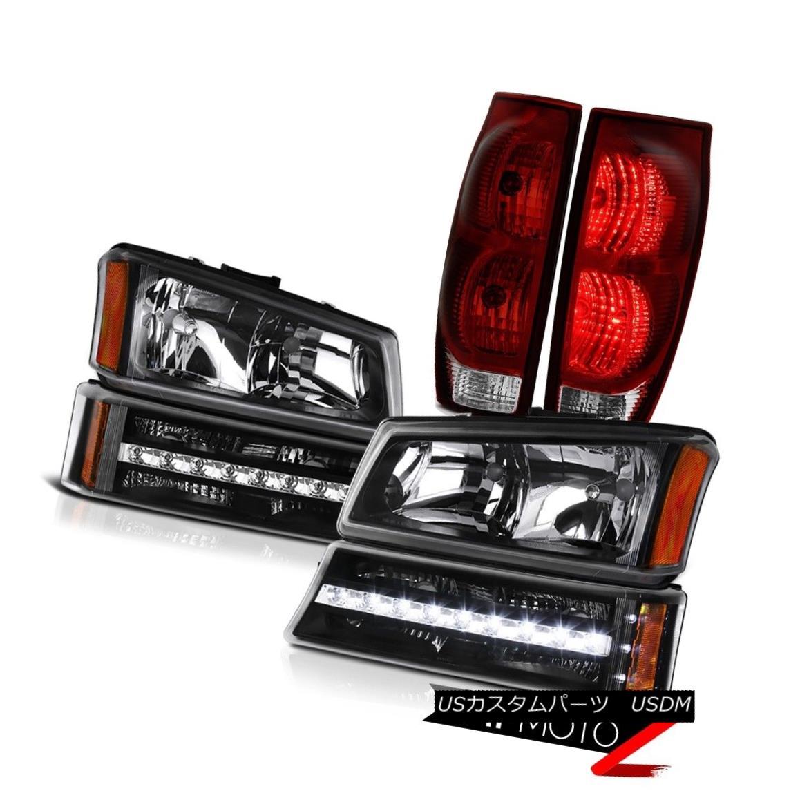 テールライト 03-06 Chevy Avalanche Taillights Raven Black Parking Light Headlamps LED 03-06シボレーアバランシェテールライトレーブンブラックパーキングライトヘッドランプLED