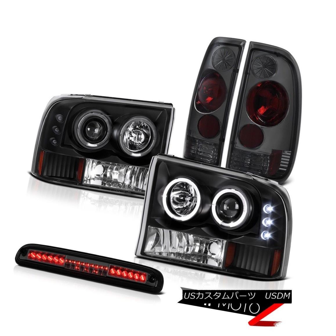 テールライト 99-04 F350 XLT 2x Halo Headlights Tinted Brake Tail Light High Stop LED Smoke 99-04 F350 XLT 2x HaloヘッドライトタイテッドブレーキテールライトハイストップLEDスモーク