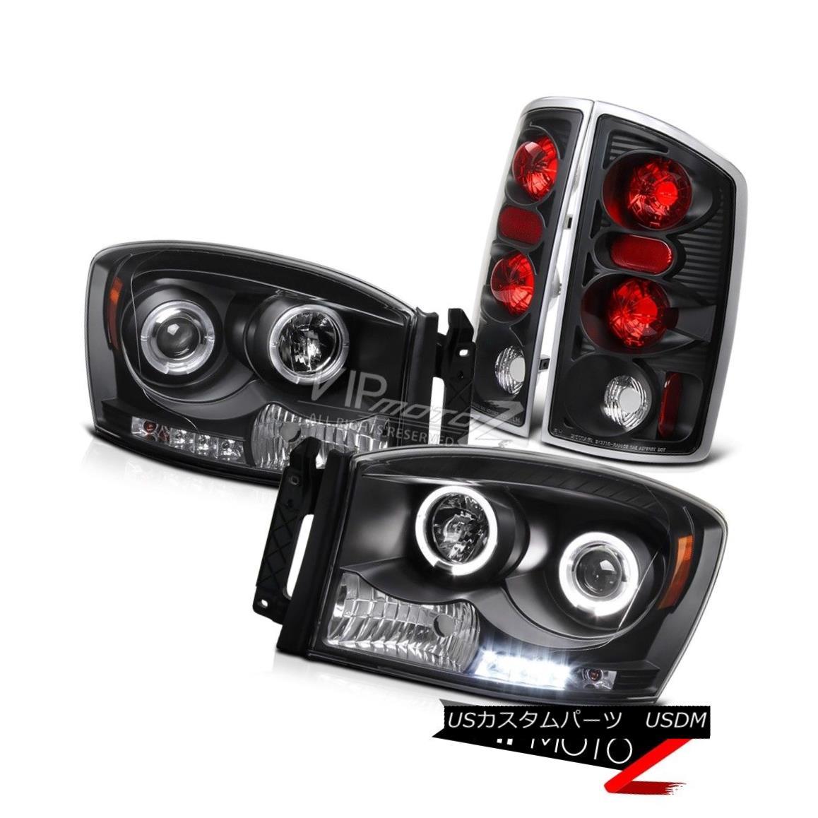 テールライト 2006 Dodge RAM 1500/2500/3500 Black HaLo Projector Headlight+ Taillight 2006ダッジRAM 1500/2500/3500ブラックハロープロジェクターヘッドライト+テールライト